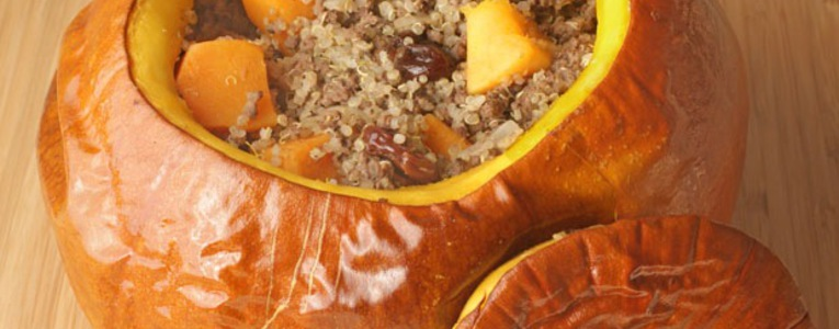 Quinoa and Venison Stuffed Pumpkin
