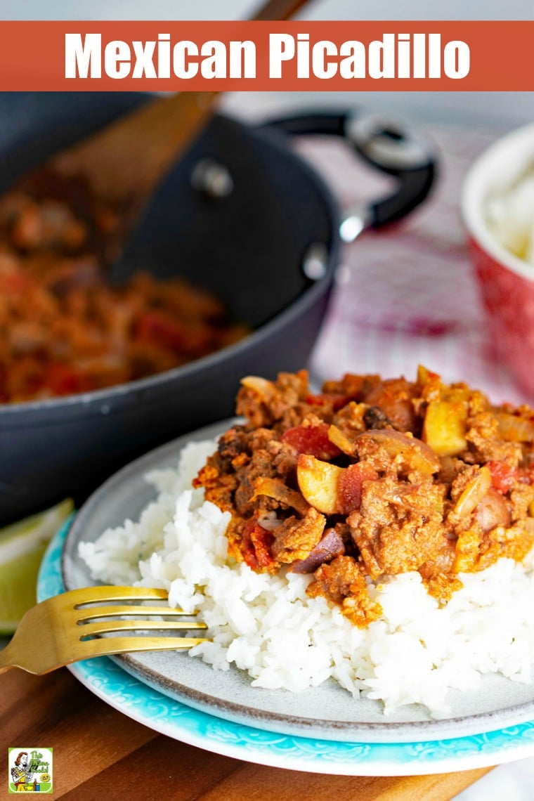 This version of Mexican Picadillo is easy to make with ingredients like ground beef, chorizo, potatoes, celery, tomatoes, and raisins. Serve on rice. #recipes #easy #recipeoftheday #glutenfree #easyrecipe #easyrecipes #glutenfreerecipes #dinner #easydinner #dinnerrecipes #dinnerideas #groundbeef #rice #mexicanfoodrecipes #mexican #mexicanfood