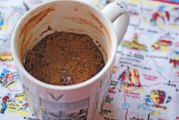 gluten free chocolate cake in a mug