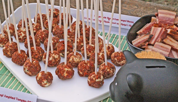 Goat cheese and bacon lollipops
