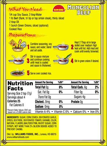 Mongolian Beef mix directions