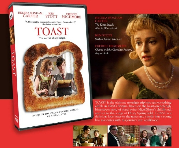 The DVD of the movie Toast and a still from the movie.