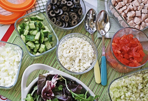 Cobb Salad prep