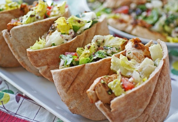 Recipe: Rachael Ray's Greek Grilled Chicken & Vegetable Salad with Pita Bread