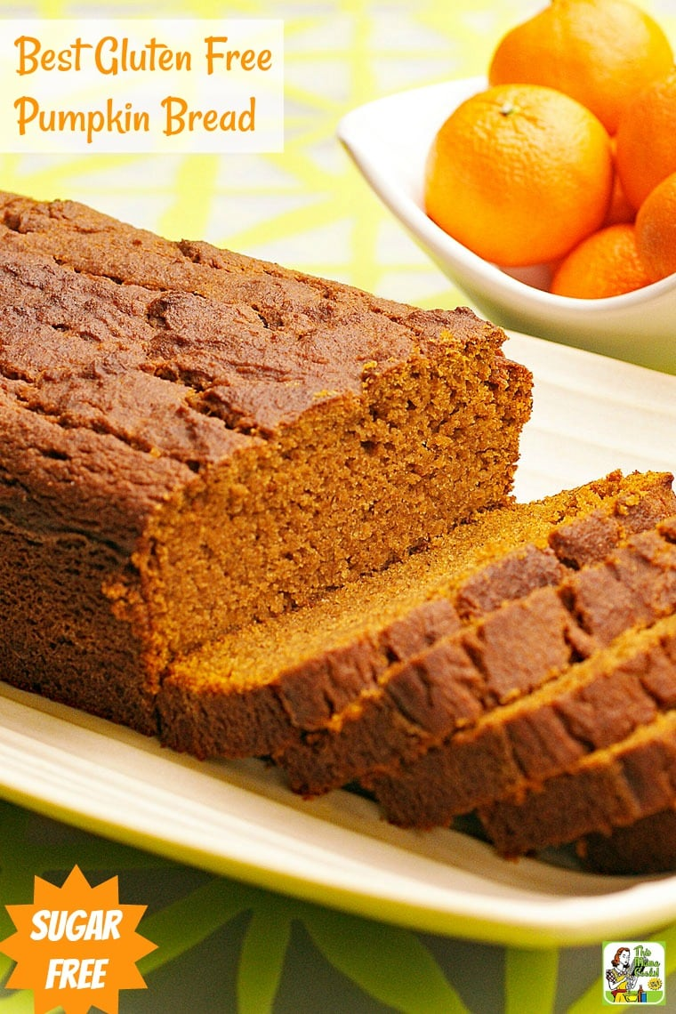 This Best Gluten Free Pumpkin Bread recipe is also sugar free! This easy to make and healthy pumpkin bread recipe makes two loaves.