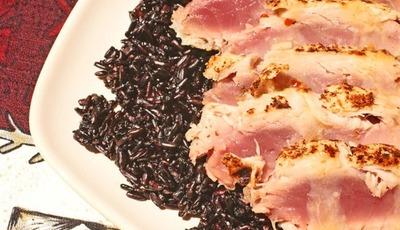 Seared Panko Encrusted Tuna on Black Rice