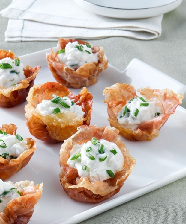 Crispy Prosciutto di Parma Cups with Goat Cheese Mousse at This Mama Cooks! On a Diet - thismamacooks.com