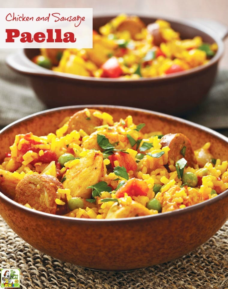 This easy Chicken and Sausage Paella recipe is allergy free and gluten free. Click to get this one pot weeknight dinner recipe.