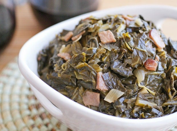 Collard Greens with Sorghum and Ham