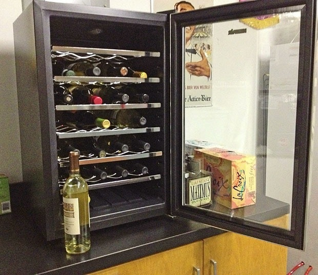 "Turning the man cave into ""la cave du vin"" with our NewAir Wine Cooler 