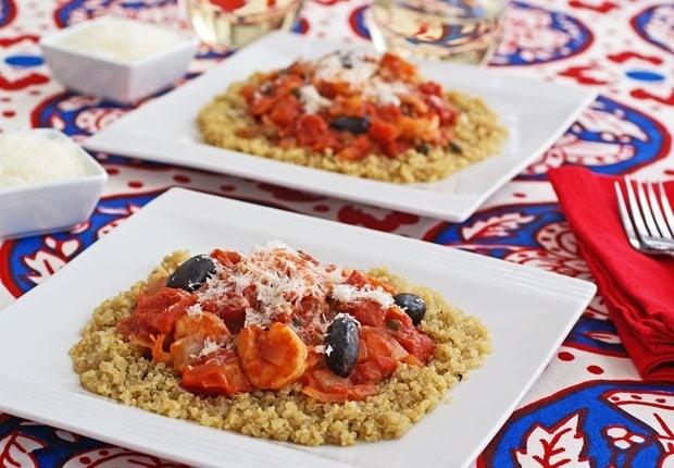 Naturally gluten free! Shrimp Puttanesca with Quinoa at This Mama Cooks! On a Diet - thismamacooks.com