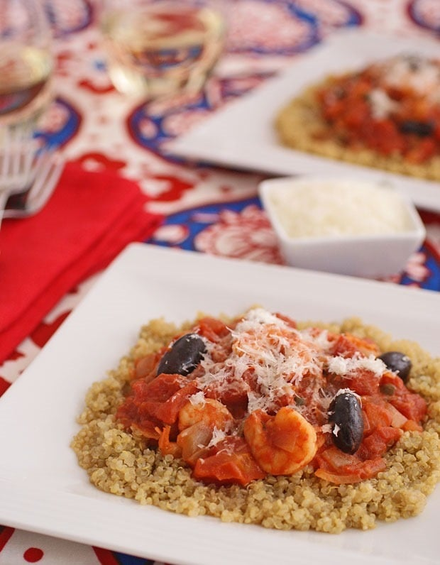 Gluten Free Shrimp Puttanesca with Quinoa at This Mama Cooks! On a Diet - thismamacooks.com
