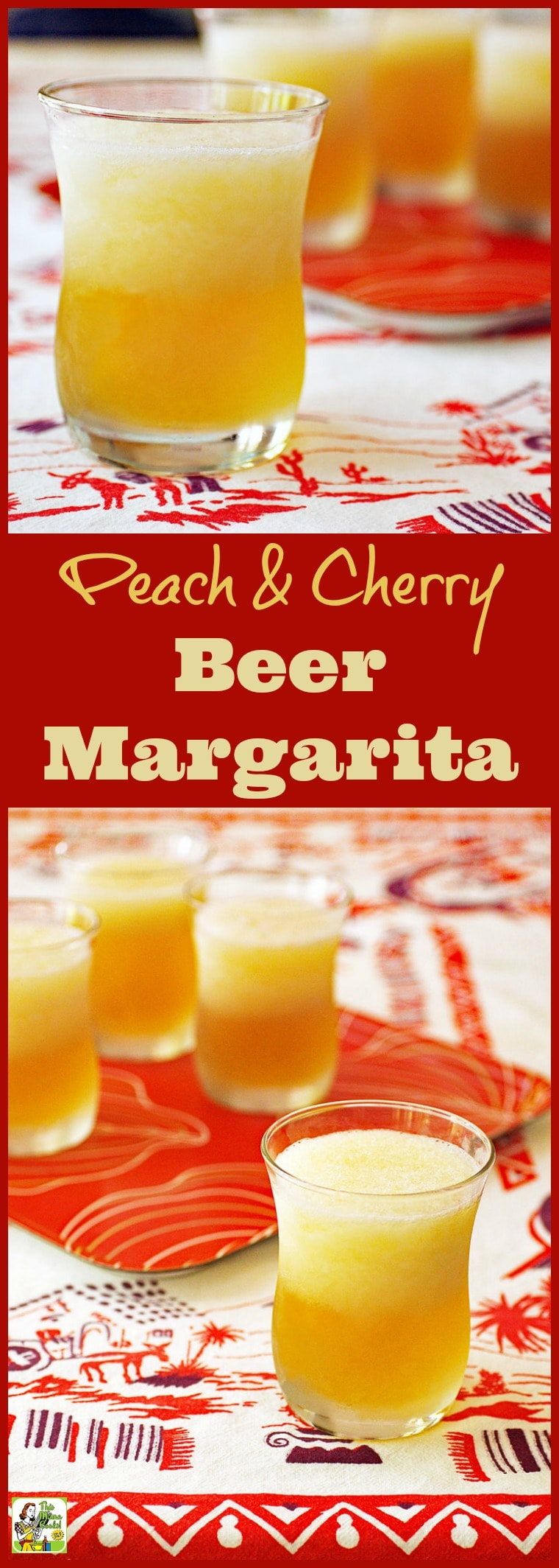 Best ever margarita recipe: Peach & Cherry Beer Margarita. Make it with diet natural black cherry soda, 100% frozen fruit concentrate, and gluten free beer. Click to get this easy beer margarita cocktail recipe. Perfect for Cinco de Mayo parties or Mother\'s Day lunch or brunch. #recipes #easy #recipeoftheday #glutenfree #easyrecipes #margaritas, #margarita, #drinks, #drinking, #cocktails, #cocktail, #beer