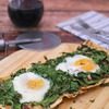 Greens, Eggs & Ham Flatbread Pizza