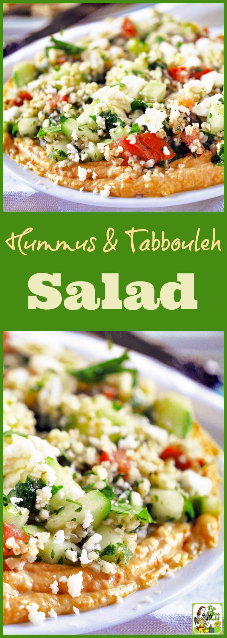 This Hummus & Tabbouleh Salad recipe can be used as a party appetizer or in a sandwich wrap. Comes with a gluten free option using quinoa. Click to get this easy to make healthy hummus and feta cheese dip recipe.