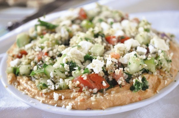 Hummus Tabbouleh Salad Spread at This Mama Cooks! On a Diet - thismamacooks.com