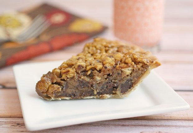 Bourbon & Chocolate Pecan Pie. Get the easy gluten free dessert recipe at This Mama Cooks! On a Diet