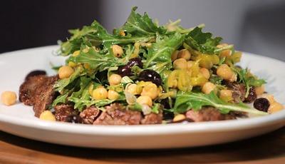 Flank Steak With Chickpea Arugula Salad