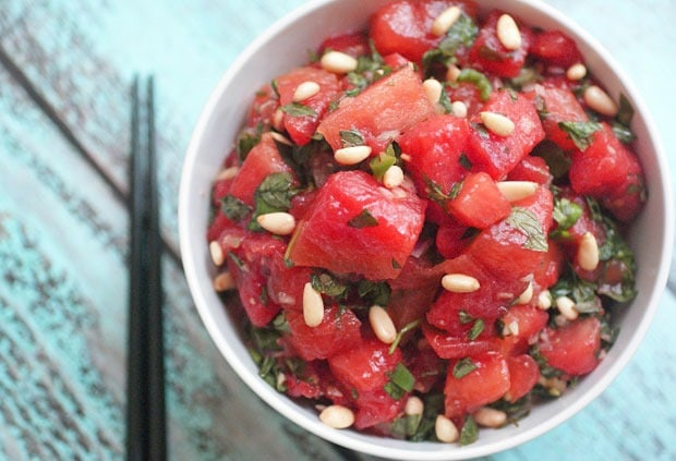 Asian Citrus Watermelon Salad from This Mama Cooks! On a Diet - thismamacooks.com