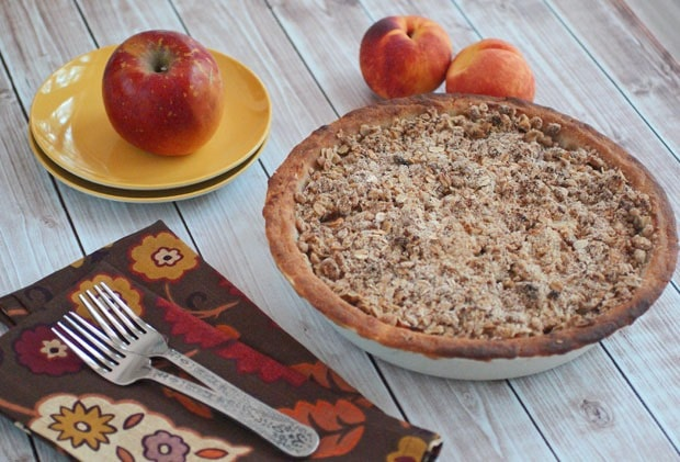 Gluten Free Oatmeal Crumb Apple Peach Pie  at This Mama Cooks! On a Diet - thismamacooks.com