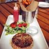 Lamb Burger and Sweet Potato Fries at Del Frisco's Grille Atlanta