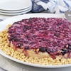 Gluten & Dairy Free Coffee Cake Topped with Berries & Pine Nuts