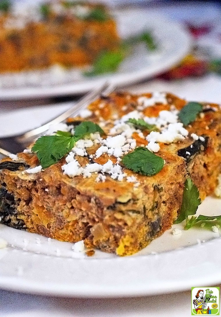 Healthy & Easy Chorizo Breakfast Casserole made with sweet potatoes