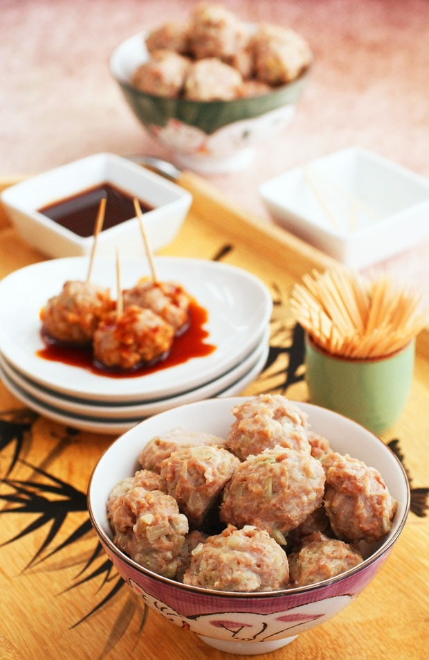 Get this easty to make Gluten Free Asian Ginger Meatball Appetizer recipe at This Mama Cooks! On a Diet. It's a perfect party appetizer or as part of a stir fry recipe.
