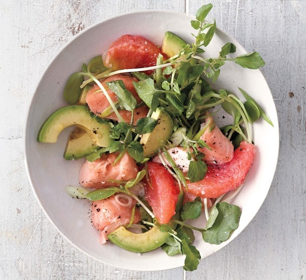 Grapefruit Salmon and Avocado Salad at This Mama Cooks! On a Diet- thismaacooks.com Photo by Romulo Yanes. Courtesy of Martha Stewart Living. Copyright © 2014.