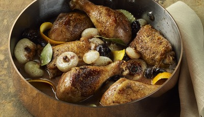 Chicken Drumsticks and Thighs with Prunes and Onions