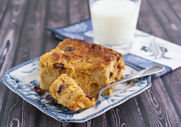 Gluten Free Pumpkin Cranberry Bread Pudding at This Mama Cooks! On a Diet - thismamacooks.com