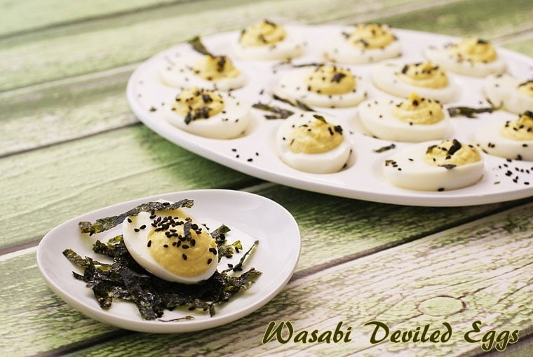 Great for a party! Wasabi Deviled Eggs at This Mama Cooks! On a Diet - thismamacooks.com