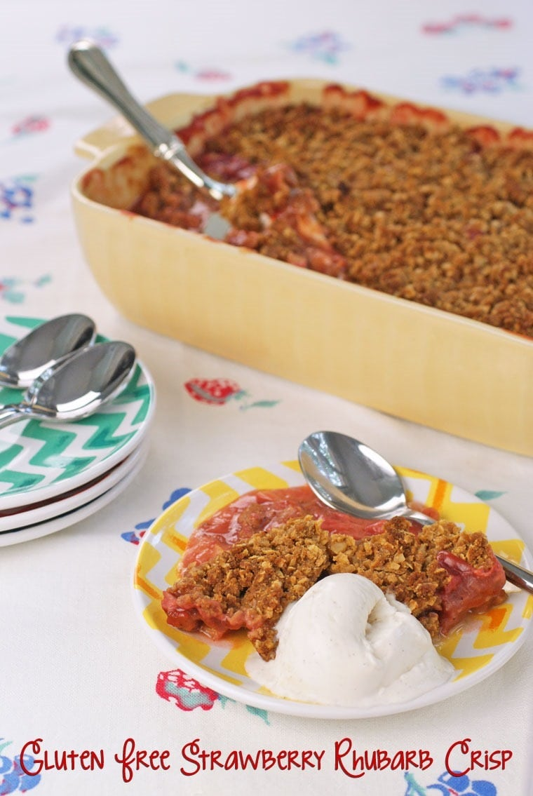 Need a dessert that's gluten free, dairy free, sugar free and/or vegan? Try this Strawberry Rhubarb Crisp recipe at This Mama Cooks! On a Diet