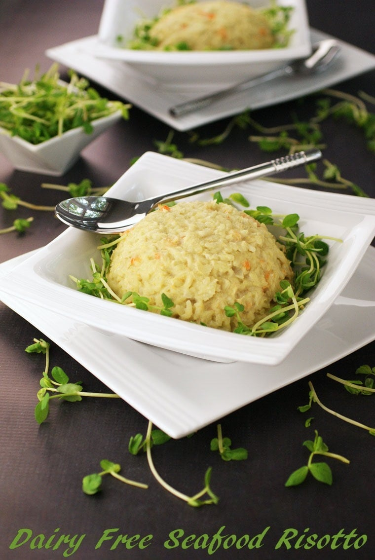 Gluten Free and Dairy Free Seafood Risotto using coconut milk at This Mama Cooks! On a Diet - thismamacooks.com