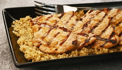Gluten Free Miso Glazed Pork Chops with Miso Flavored Quinoa