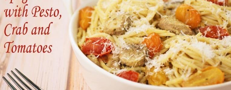 Gluten Free Spaghetti with Pesto, Crab and Tomatoes