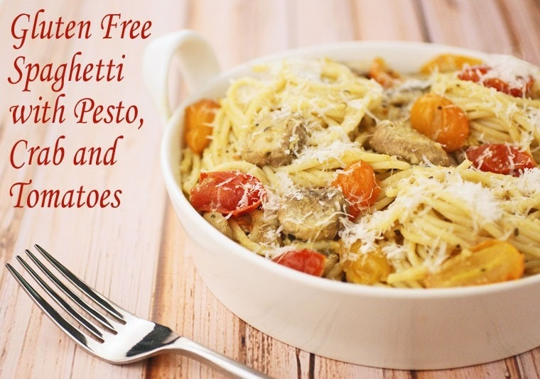 An easy gluten free dish the whole family will love! Gluten Free Spaghetti with Pesto, Crab and Tomatoes at This Mama Cooks! On a Diet - thismamacooks.com