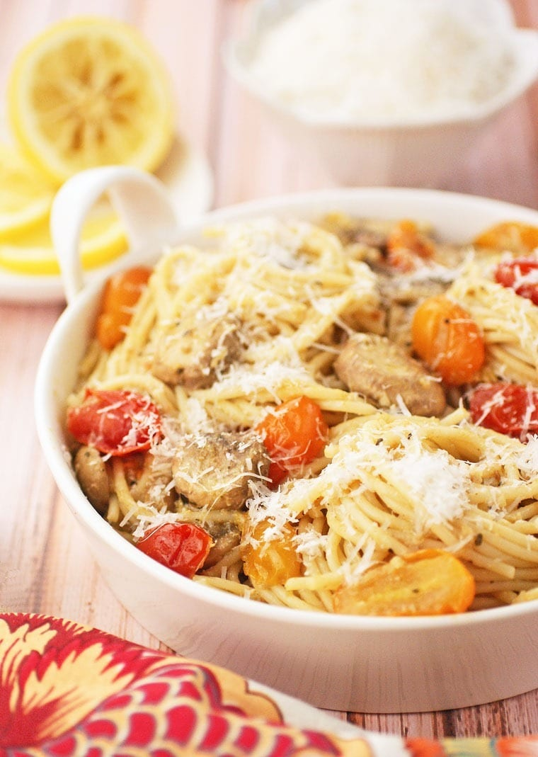 Hungry? Try this Gluten Free Spaghetti with Pesto, Crab and Tomatoes tonight at This Mama Cooks! On a Diet - thismamacooks.com