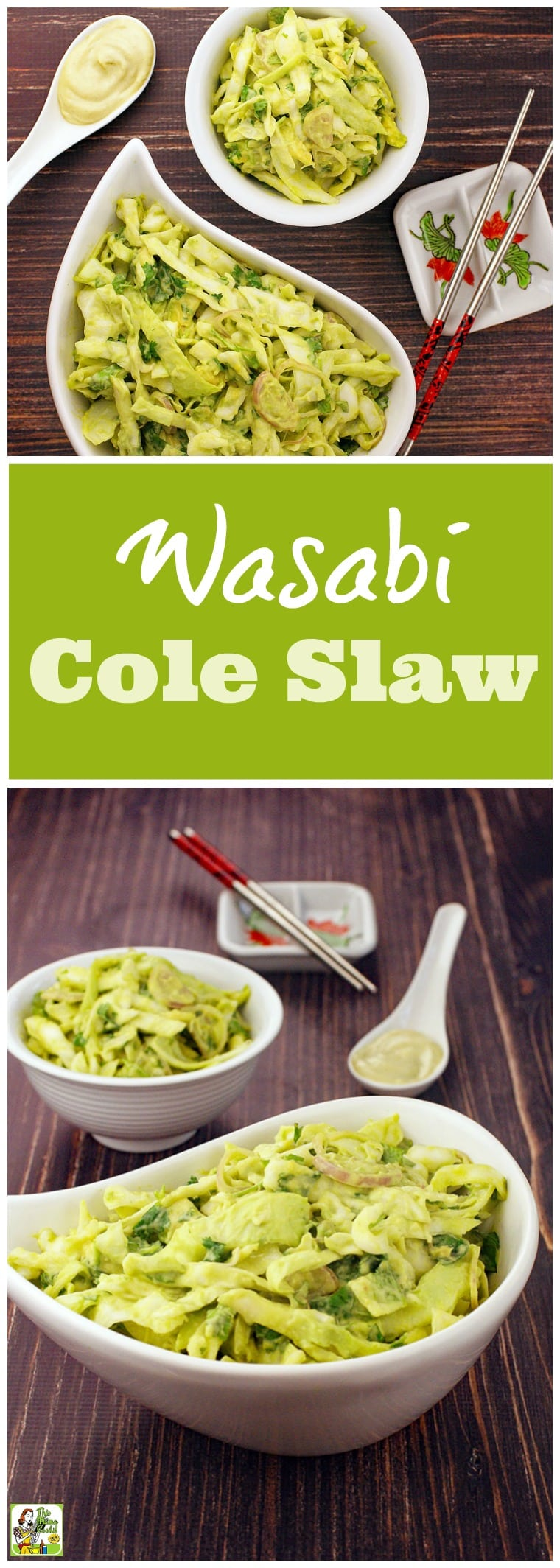 Tired of basic coleslaw recipes? Try this Wasabi Cole Slaw recipe! Click to get this Asian coleslaw recipe that's ideal for cookouts, potlucks and bbq parties. It's gluten free and comes with a vegan option. You'll love how this easy coleslaw recipe with avocado and wasabi mayo for summer!