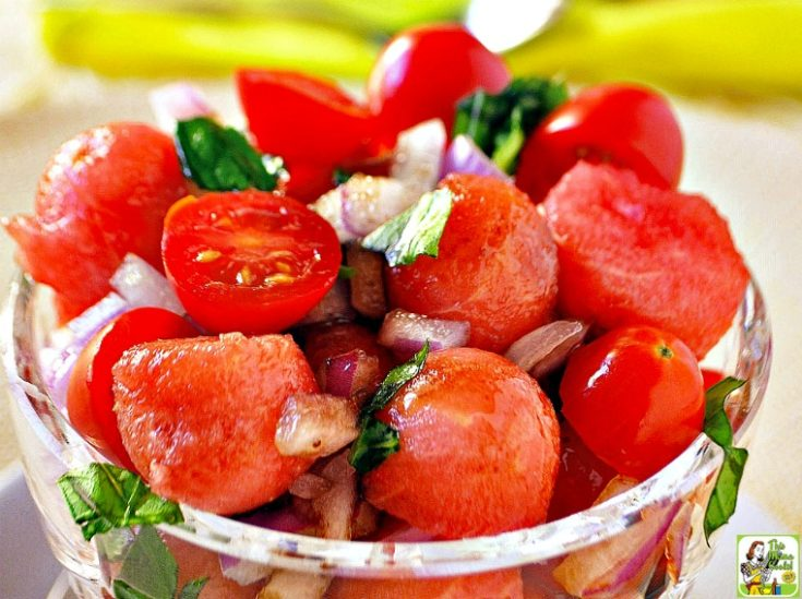 Easy Watermelon Tomato Basil Salad Recipe