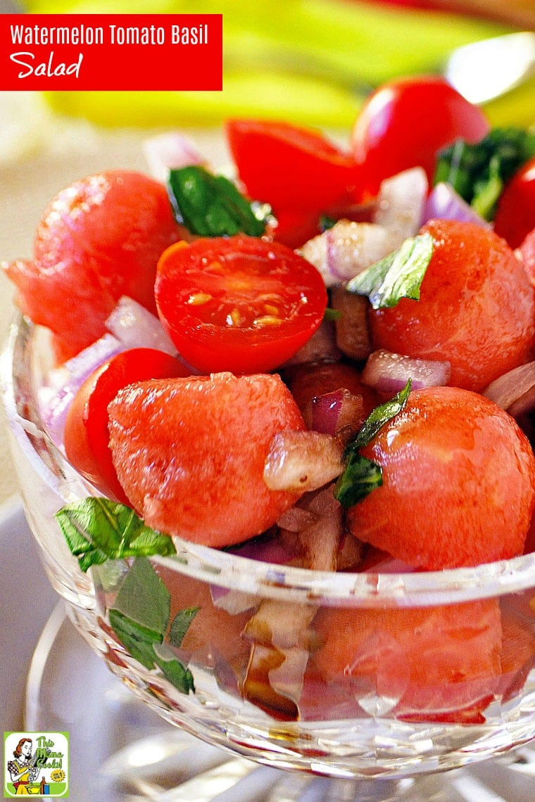 This Easy Watermelon Tomato Basil Salad recipe is ideal for summer cookouts or potlucks. Click to get this tomato basil salad recipe that is naturally gluten free, vegan, vegetarian, dairy free, and can be made in 20 minutes.