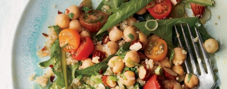 Marinated Chickpeas with Quinoa and Dandelion Greens Salad