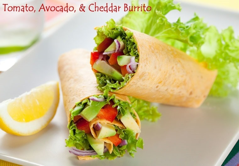 Tomato Avocado & Cheddar Burrito from Jillian Michaels' Master Your Metabolism cookbook. Find more of Jillian's recipes at This Mama Cooks! On a Diet - thismamacooks.com