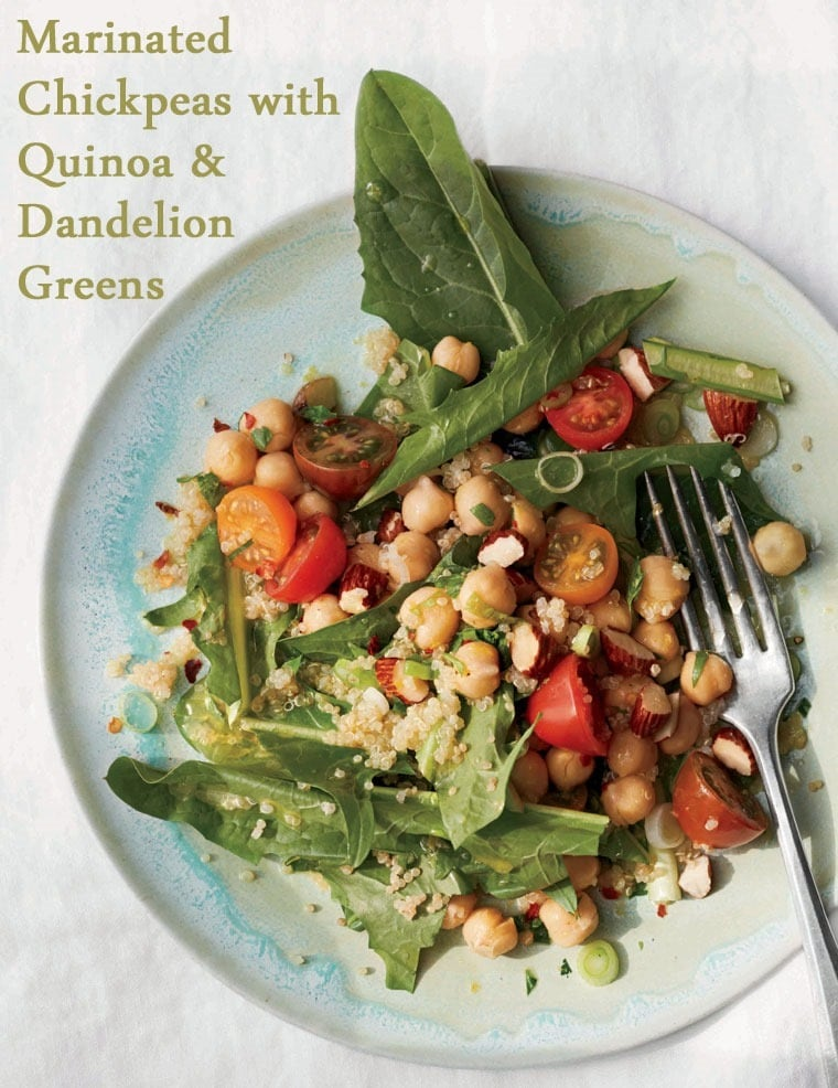 Marinated Chickpeas with Quinoa and Dandelion Greens Salad at This Mama Cooks! On a Diet - thismamacooks.com