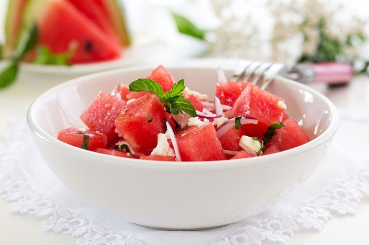 Watermelon with Mint, Lemon and Feta Salad at This Mama Cooks! - thismamacooks.com