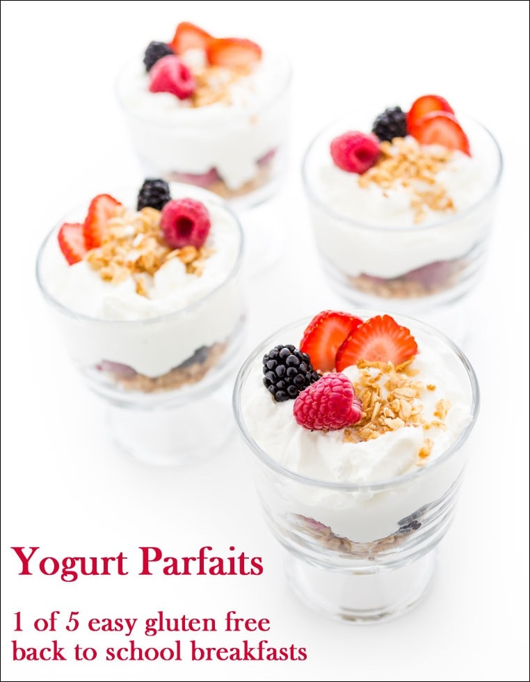 Yogurt parfaits - 1 of 5 easy gluten free back to school breakfasts at This Mama Cooks! On a Diet - thismamacooks.com