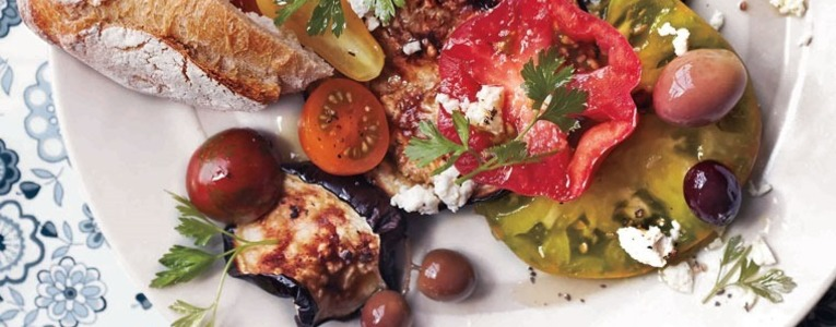 Blistered Eggplant with Tomatoes, Olives and Feta