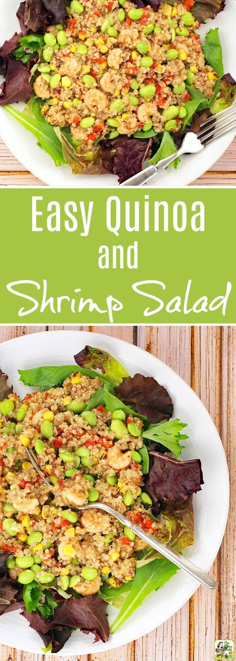 This Easy Quinoa and Shrimp Salad recipe is perfect for busy weeknights. Click to get this healthy, gluten free salad recipe that's packed with protein from shrimp, quinoa and edamame soybeans. Can be made in less than 40 minutes. #salad #glutenfree #quinoa #edamame #shrimpsalad #seafoodsalad #seafood #healthysalad #healthyfood #healthy #protein