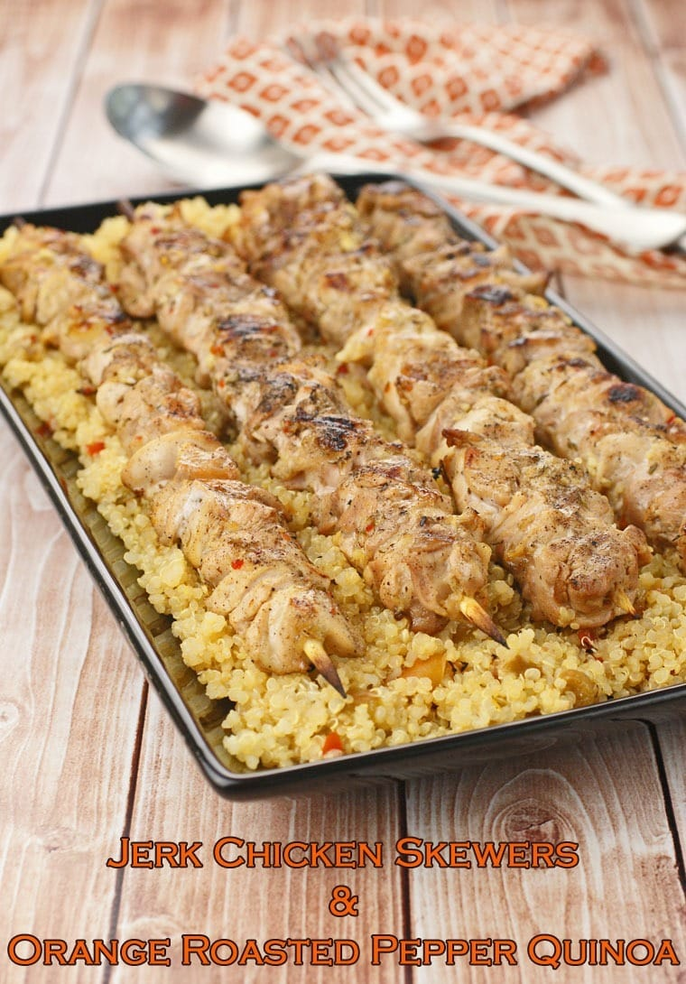 Jerk Chicken Skewers & Orange Roasted Pepper Quinoa at This Mama Cooks! On a Diet - thismamacooks.com