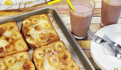 Baked Pumpkin French Toast with Bananas